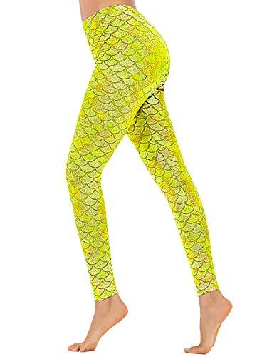 Shiny Spandex Leggings - Girls Full Length Sexy Mermaid Print Fish Scale Tight Leggings Magic Yellow S