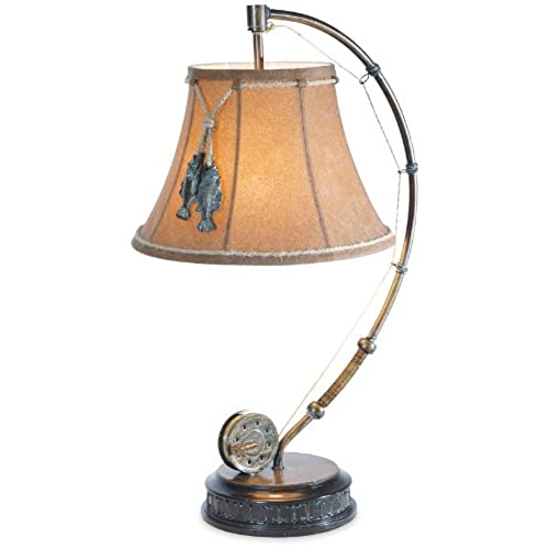 Elegant The Catch Of The Day Fishing Reel Table Lamp With Decorative Shade