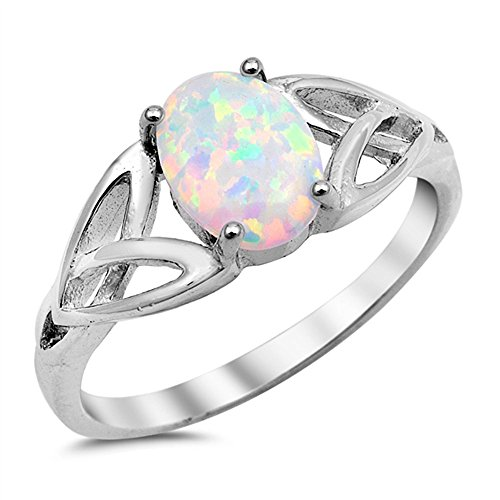 Lab Created White Opal Oval Plain .925 Sterling Silver Ring Size 7