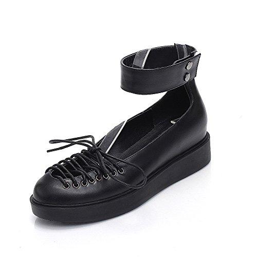 Amoonyfashion Kvinnor Låga Klackar Mjukt Material Fast Spänne Rund Sandaletter Svarta
