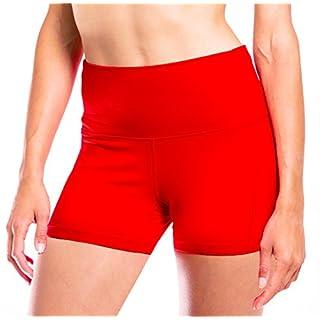 Yogipace Women's High Waisted Hot Yoga Shorts Swim Short Pilates Pole Booty Shorts with Pocket Red Size M
