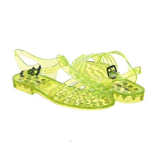 Summer Womens Jelly Flat Style Glitter Sandals Elegant neonyellowclear Womens Elegant tnPqB7