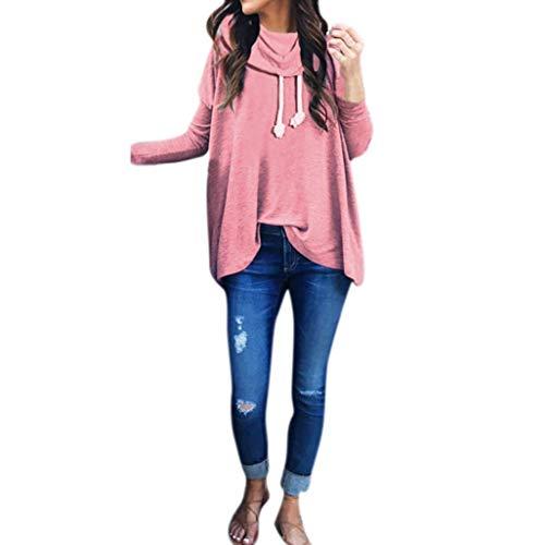 Capuche Confortable Blouse À Femmes Pulls Rose Sweat Tops Tuniques Automne Taille Écharpe Couleur Élégant Col Tops Casual L Loose Zhrui Vêtements xZanSpqIx
