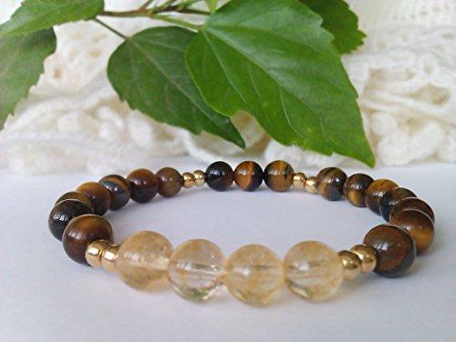 JP_Beads Citrine Bead Bracelet, Tiger Eye Bracelet, Stretch Gemstone Bracelet, Beaded Bracelet Women,Natural Stone Bracelet,Citrine Tiger Eye Jewelry 8mm