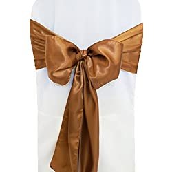 "Wedding Linens Inc. (10 PCS) 7.5"" x 108"" Satin Chair Sashes Bow Sash Chair Bows Ties for Wedding Decoration Party Banquet Events - Copper"