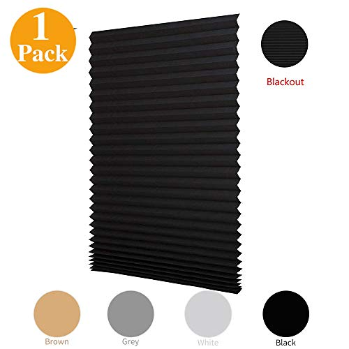 """LUCKUP 1 Pack Cordless Light Filtering Pleated Fabric Shade,Easy to Cut and Install, with 2 Clips (48""""x72"""" - 1 Pack, Black)"""