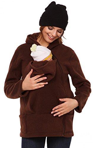 Happy Mama. Para mujer sudadera capucha top portador de bebé forro polar. 031p Marrón