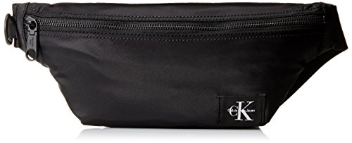 Calvin Klein Men's Zippered Belt Bag with Logo Patch, Black, NO SIZE