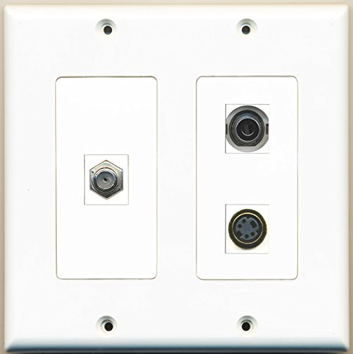 RiteAV - 1 Port Coax Cable TV- F-Type 1 Port S-Video 1 Port 3.5mm - 2 Gang Wall Plate (3.5 F-type S-video Mm)