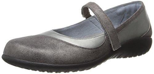 Naot Kvinna Kukamo Mary Jane Platt Sterling Läder / Grå Skimmer Läder