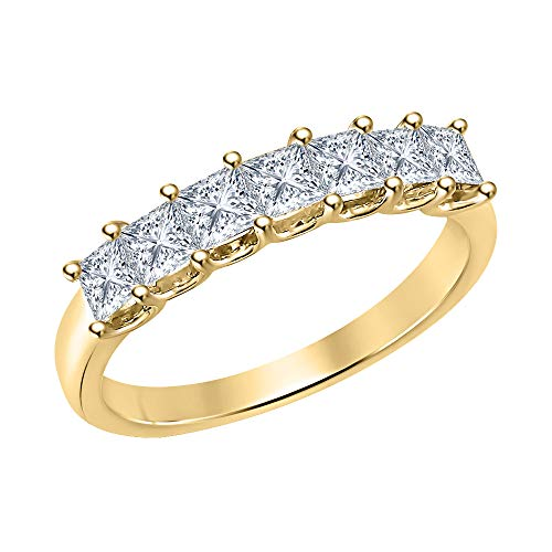 RUDRAFASHION 1.50ctw Princess Cut White CZ Diamond Seven Stone Half Eternity Wedding Band Ring for Womens 14k Yellow Gold Over Sterling Silver