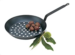 Paderno World Cuisine Black Carbon Steel Chestnut Pan, 11IN
