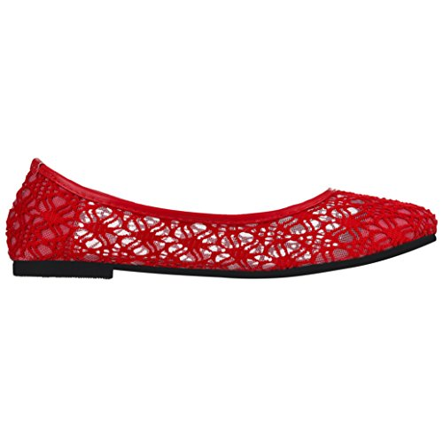 Slip Red on Comfy Loafers Crochet Ballerina Shoes Lace Ballet Women's Flat Cute w0P7FqY