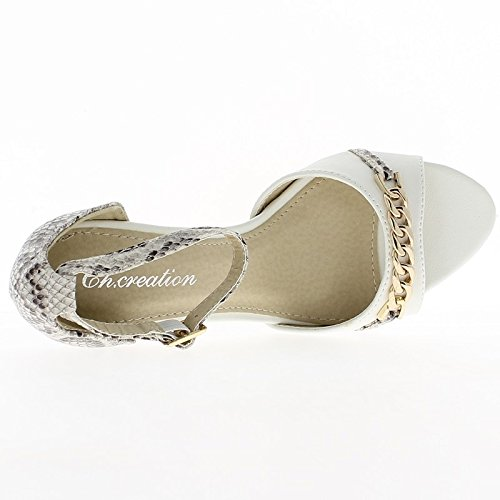 Blanco sandalias de tacón de 9,5 cm