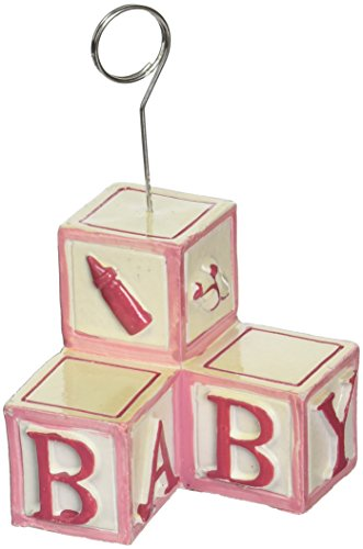Baby Blocks Photo/Balloon Holder (pink) Party Accessory  (1 count) -