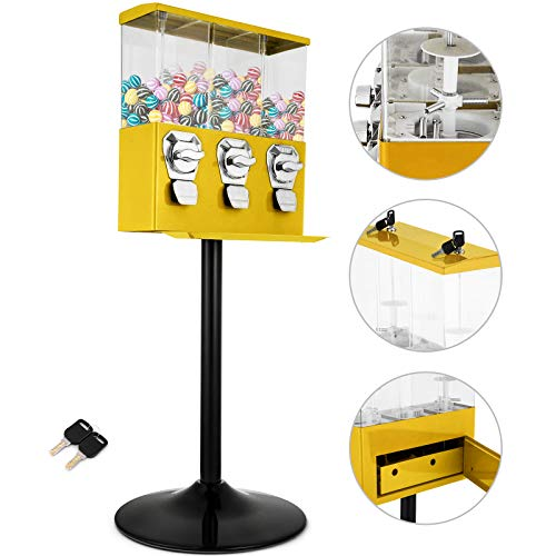 (Mophorn Triple Pod Candy Gumball Vending Machine Yellow Triple Head Candy vending Dispenser with Stand Heavy Duty Gumball Bank Durable Metal Body Removable)