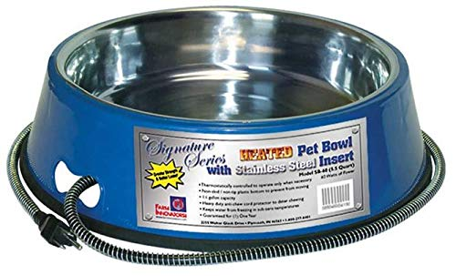 Farm Innovators Model SB-60 5-1/2-Quart Heated Pet Bowl with Stainless Steel Bowl Insert, Blue, 60-Watt