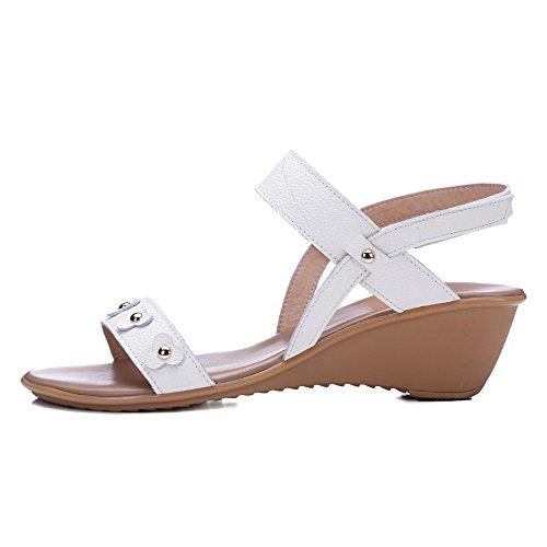 AgooLar Mujeres Sólido Velcro Puntera Abierta Plataforma Sandalia Blanco