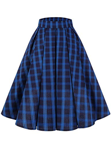 Bridesmay Women's Vintage Pleated Skirt Floral Printed A-line Swing Skirt with Pockets Plaid 3XL ()