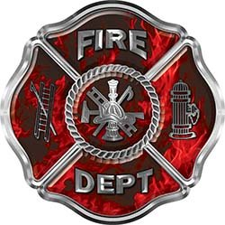 Interior Wall Design Traditional Fire Department Fire Fighter Maltese Cross Sticker / Decal in Red Inferno Flames ()