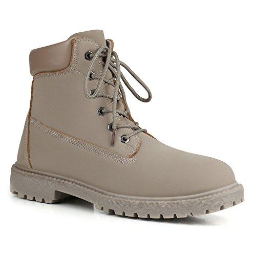 Unisex Damen Herren Warm Gefütterte Damen Worker Boots Stiefeletten Outdoor Flandell Grau Grau