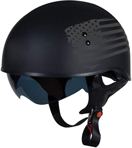 TORC T55 SpecOp Half Helmet with FlagGraphic Flat Black Small
