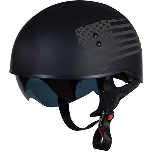 TORC T55 Spec-Op Half Helmet with 'Flag' Graphic (Flat Black, X-Large) (Harley Davidson Helmet Liner)