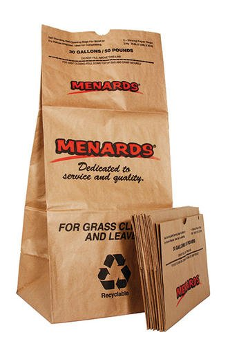 Menards 30 Gallon 50 Pounds Strong Paper Lawn Bags 10-Pack