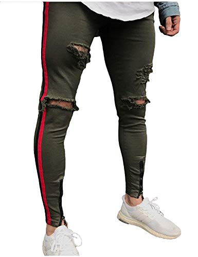Jeans Holes Strappati Armeegrün Pantaloni Denim Closure Fit Casual Uomo Da Slim Comodi Stretch Skinny xwxYApXq