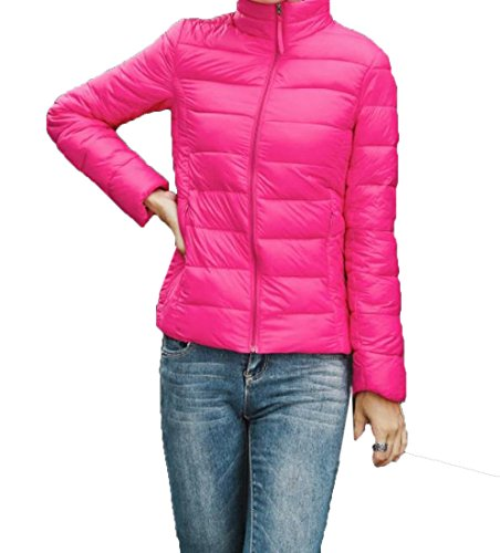 Stand Down Pocket EKU Rose Red Solid Women's Zipper Collar M Jacket Coats Yw4aE4q