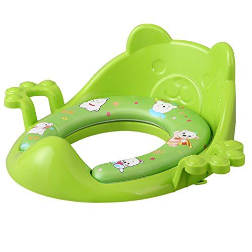 Green soft potty seat FOR BOYS | with handles for elongated toilet | by Nima's