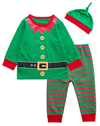 3PCS Baby Boys Girls Christmas Elf Costume Pajama Outfit Clothes Set (Green, 18-24 Months) -