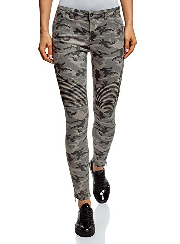 oodji Ultra Women's Military-Style Jeans with Decorative Stitching, Grey, 29W / 30L (US 8 / EU 42 / L) ()
