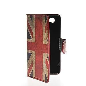 QUSECASE UK British Flag Carcasa Funda Caso Cuero Tapa Cartera Case Cover Para Sony Xperia Z1 Compact (Mini)
