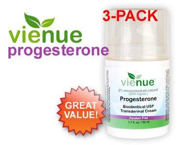VieNue USP Crème de progestérone bio-identique - Cycle 3 Pack