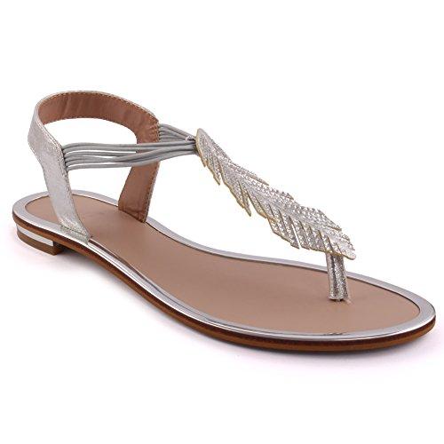 se Casual de Unze Carnaval Las verano 'Sacha' Sandalias nuevas plano los la frondoso Plateado de reúnen mujeres fiesta tamaño zapatos playa de S6xPSwA