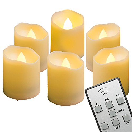 - AMAGIC LED Votive Tea Lights with Timer and Remote Control, 3 Flicker Mode Flameless Votive Tealight Candles, 200 Hr. Battery Life, Electric Fake Candle in Amber Yellow Light, Pack of 6