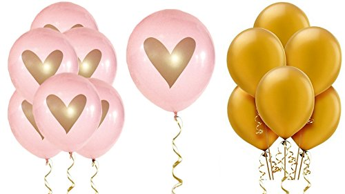 Pink Gold Heart Balloons Love 12