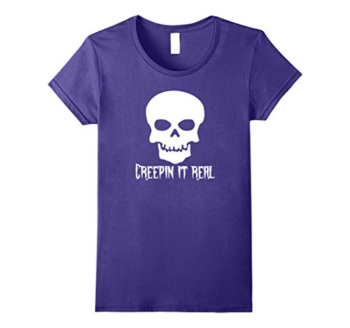 Womens Creepin It Real T-Shirt Shirt Tee Skull Halloween Costume Large Purple (Halloween Costumes Without Really Dressing Up)