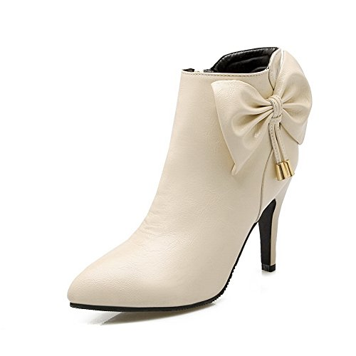 AdeeSu Girls Spun Gold Bowknot Stiletto Mule Imitated Leather Boots Beige LPsOsrx