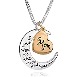I Love You to the Moon and Back Heart Necklace Mother