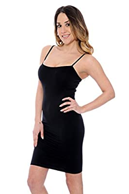 Seamless Long Cami Fitted Slip with Spaghetti Straps Tank Top - Assorted Colors