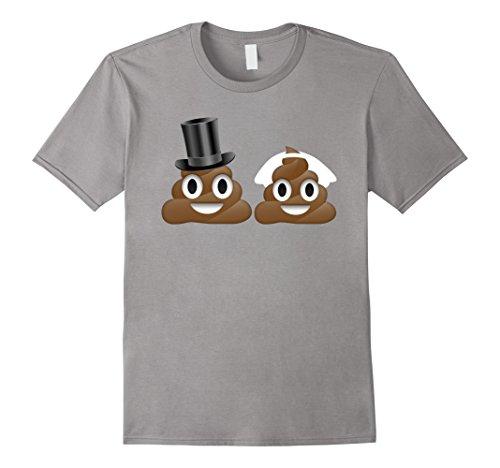 Men's Just Married Poop Emoji Emoticon Smiley TShirt - Bride Groom 2XL Slate