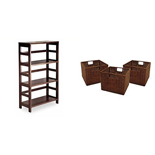 Winsome Wood 3-Shelf Wide Shelving Unit, Espresso + Winsome Wood Small Wired Rattan Baskets, Set of 3_Bundle - Espresso 3 Tier Wide Bookshelf