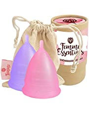 2X Femme Essentials Menstrual Cups in Pink and Purple with Cotton Pouch for Easy Storage | Super Soft Menstrual Cup | Eco Friendly Alternative to Pads and Tampons | Reusable Period Cup |
