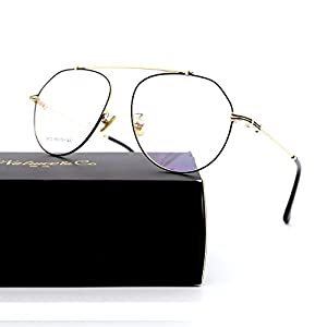 Natwve&Co Aviator Vintage Eyewear Colorful Retro Designer Glasses for women men (5872) (Dark Black with Gold)