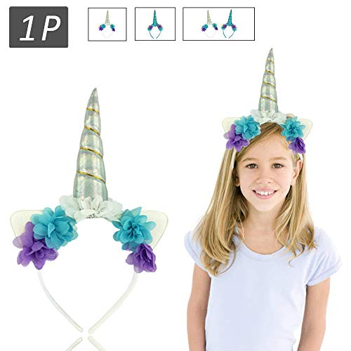 HENCE Unicorn Horn Headband Flower Glitter Headbands Party Favors Decoration Halloween Christmas Cosplay Costume(Silve) Silver ()