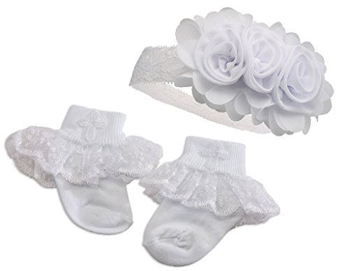 """Petals"" Baby Girl White Baptism or Christening Socks with Cross and Headband Set"