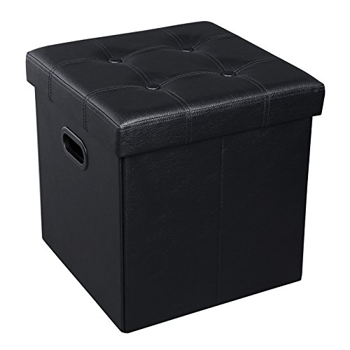 SONGMICS Folding Storage Ottoman, Cube Footrest, Puppy Step, Coffee Table with Hole Handles, 15 x 15 x 15 Inches, Max. Static Load 660 lb, Faux Leather, Black ULSF30B (Ottoman Lid Tray With)