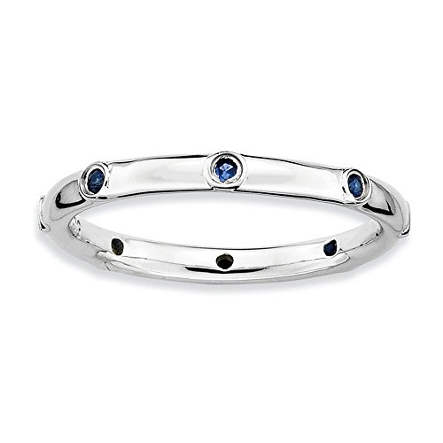Size 7 - Lab Created Blue Sapphire 2.25mm Studded Band Sterling Silver Stackable Expressions - Band Studded Mm 2.25